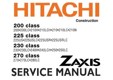 hitachi zaxis zx 200 225 230 270 class excavator service repair rh servicemanualbit com Hitachi Equipment Service Manual Hitachi Excavators Service Manual Z470