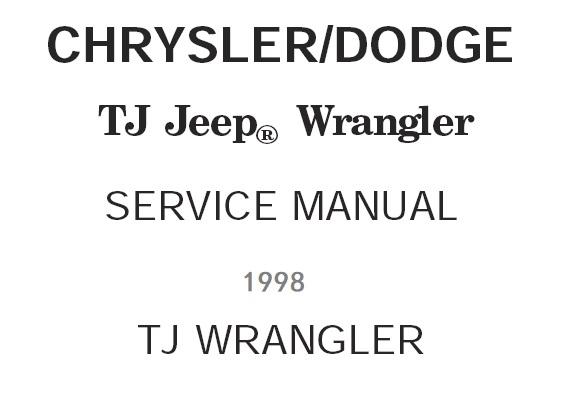 1998 Jeep Tj Wrangler Factory Service Repair Manual And