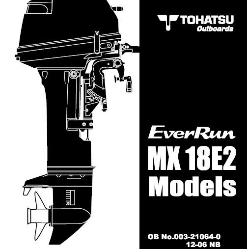 Tohatsu Mx18e2 Everrun Outboard Service Repair Manual