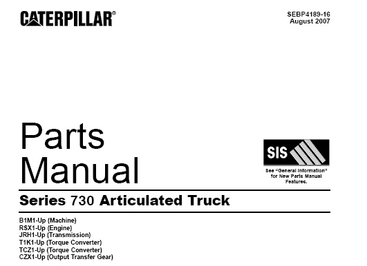 Caterpillar Cat Series 730 Articulated Truck Parts Manual Service Manual Download