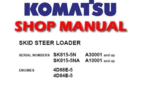 Komatsu Skid Steer Loader  U2013 Service Manual Download