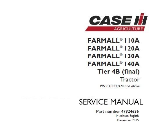 Case Ih Farmall 110a  120a  130a  140a Tier 4b  Final  Tractor Service Repair Manual  Pin