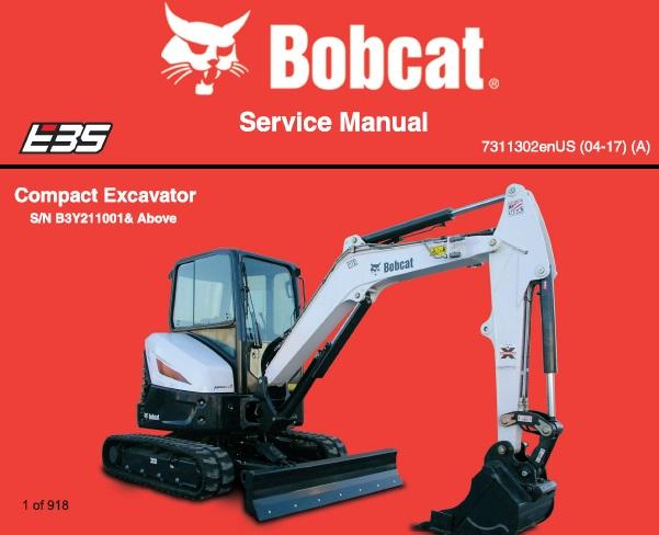 Bobcat E35 Compact Excavator Service Repair Manual  S  N