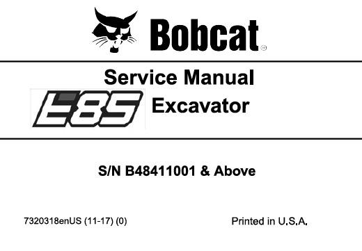 Bobcat E85 Compact Excavator Service Repair Manual  S  N