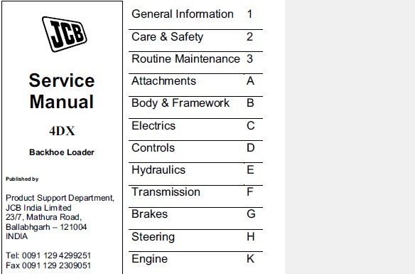 JCB 4DX Backhoe Loader India Service Repair Manual
