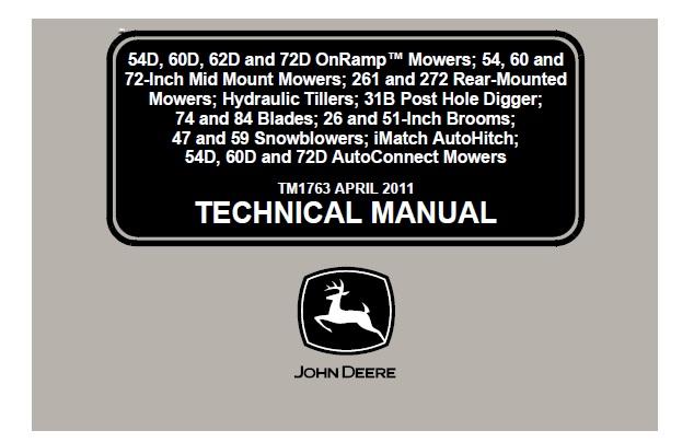 John Deere Mowers Series 54d  60d  62d  72d Onramp And